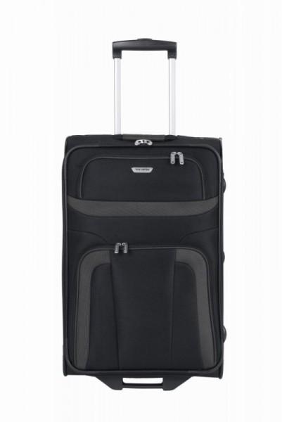 Travelite Orlando M Black textilní cestovní kufr na 2 kolečkách 63 cm
