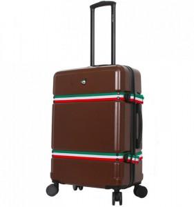 Mia Toro M1543 Nastro M Brown cestovní kufr na 4 kolečkách TSA 68 cm 68-82 l