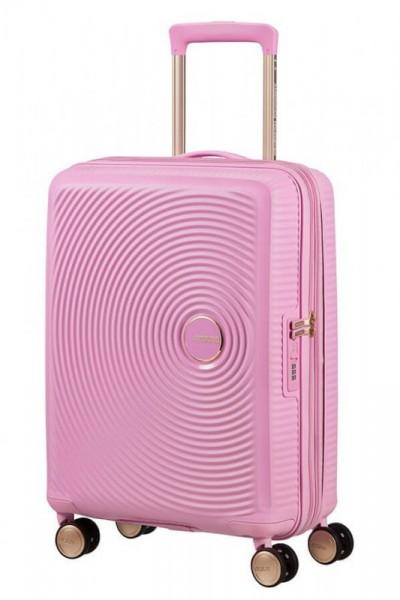 American Tourister Soundbox S Pearl Pink/Gold rozšiřitelný palubní kufr TSA 55 cm