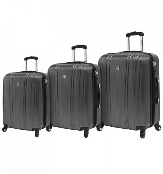 Mia Toro M1093 Acciaio S/M/L Silver sada rozšiřitelných kufrů TSA 57/67/77 cm