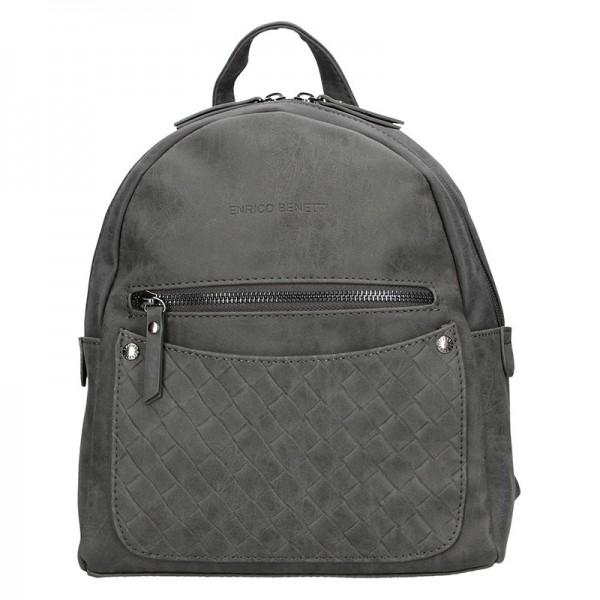 Moderní ekokožený dámský batoh Enrico Benetti Alena – šedá