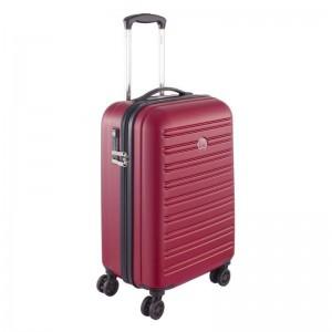 Delsey Segur 4dw S Red polykarbonátový palubní kufr TSA 55 cm 43 l