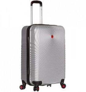 Azure Sirocco T-1157 S Silver skořepinový palubní kufr na 4 kolečkách TSA 56x38x22 cm stříbrný
