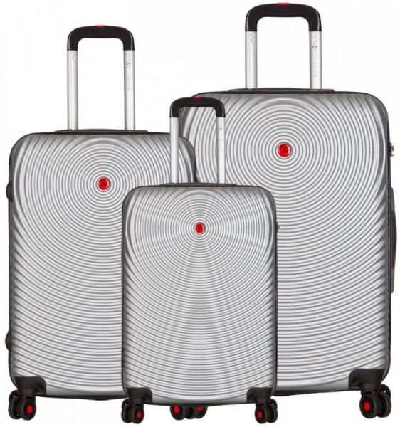 Azure Sirocco T-1157 Silver sada 3 skořepinových cestovních kufrů na 4 kolečkách TSA 76/67/56 cm stříbrná