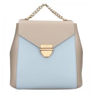Elegantní dámský kožený batoh Hexagona Reina – béžovo-modrá