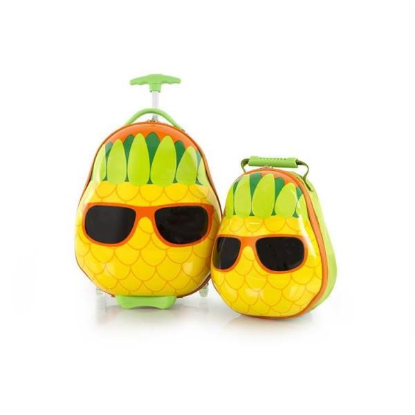Heys Travel Tots Pineapple / Ananas dětská sada kufru 46 cm a batohu