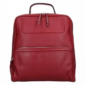 Dámský kožený batoh Katana Radka – tmavě červená
