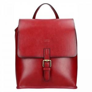 Elegantní dámský kožený batoh Katana Petra – tmavě červená