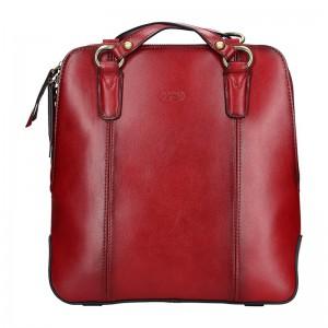 Dámská kožená batůžko kabelka Katana Martina – tmavě červená