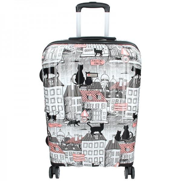 Cestovních kufr Airtex Paris Cat L – černo-bílá