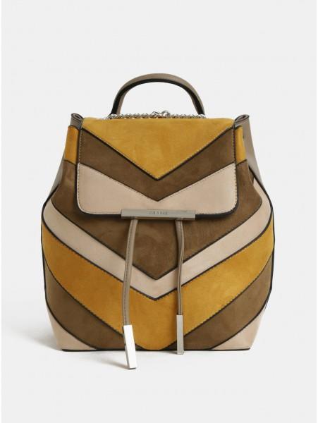 Hořčicovo-béžový batoh v semišové úpravě Bessie London