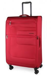March Textilní cestovní kufr Classic 70/83 l – červená