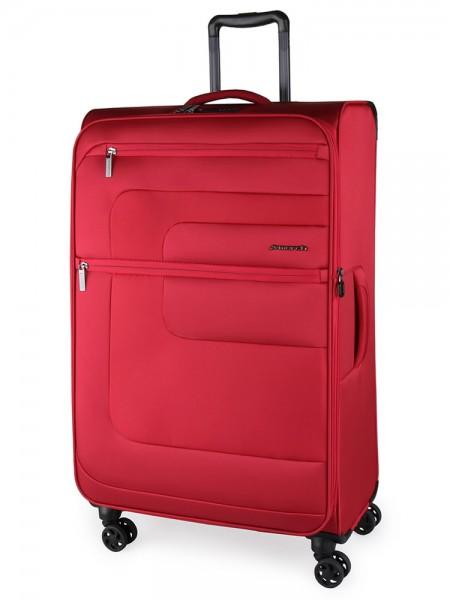 March Textilní cestovní kufr Classic 104/121 l – červená