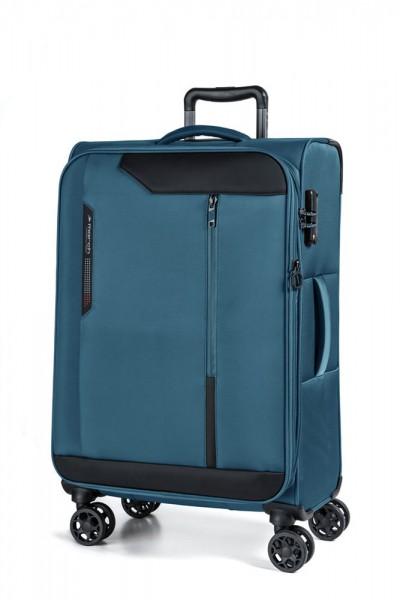 March Textilní cestovní kufr Stardust 70/83 l – modrá