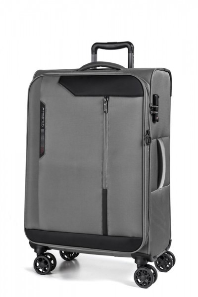 March Textilní cestovní kufr Stardust 70/83 l – šedá