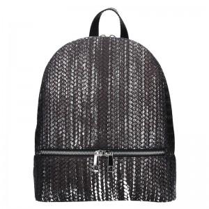 Dámský kožený batoh Facebag Paloma – černo-stříbrná