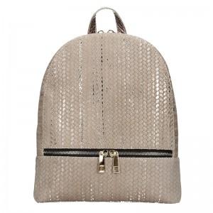 Dámský kožený batoh Facebag Paloma – béžovo-zlatá