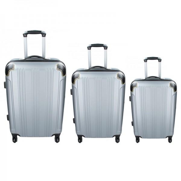 Sada 3 cestovních kufrů Madisson Michaela S,M,L – stříbrná