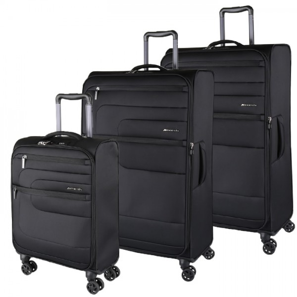 March Sada cestovních kufrů Classic S + M + L, černá