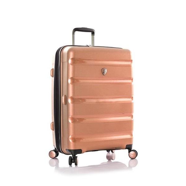 Heys Metallix M elegantní cestovní kufr Duraflex TSA 66cm 88 l Rose Gold
