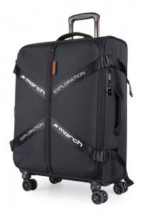 March Látkový cestovní kufr Exploration M 3834 69/79 l – černý