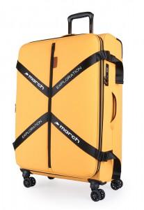 March Látkový cestovní kufr Exploration M 3834 69/79 l – golden honey