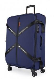 March Látkový cestovní kufr Exploration M 3834 69/79 l – tmavě modrá