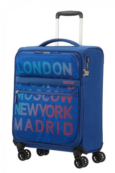American Tourister Kabinový cestovní kufr Matchup Print Spinner 77G 42 l – city map blue