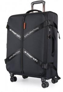 March Látkový cestovní kufr Exploration L 3834 106/120 l – černá