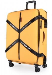 March Látkový cestovní kufr Exploration L 3834 106/120 l – golden honey