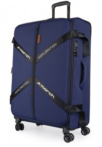 March Látkový cestovní kufr Exploration L 3834 106/120 l – tmavě modrá