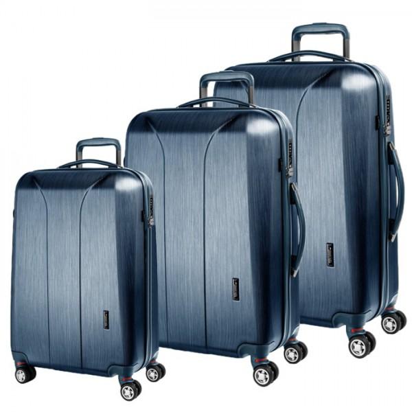 March Sada cestovních kufrů New Carat S + M + L, modrá