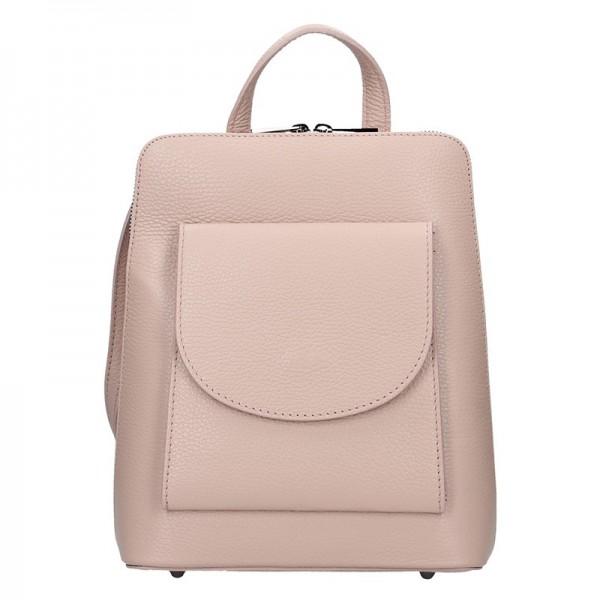 Kožený dámský batoh Unidax Malva – růžová