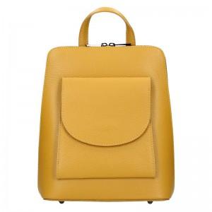 Kožený dámský batoh Unidax Malva – žlutá