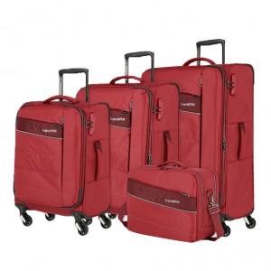 Travelite Kite 4w S,M,L Red – sada 3 kufrů + BB