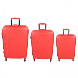 Sada 3 cestovních kufrů United Colors of Benetton Aura S,M,L – červená