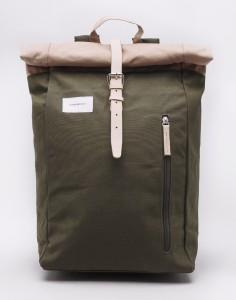 Batoh Sandqvist Dante Multi Olive / Beige with Natural Leather Malé (do 20 litrů)
