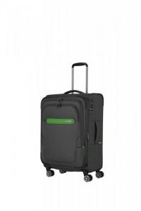 Travelite Madeira 4w M cestovní kufr TSA 67 cm 60/71 l Anthracite/Green