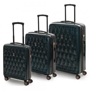 ROCK LONDON Sada cestovních kufrů Diamond S + M + L, tmavě zelená