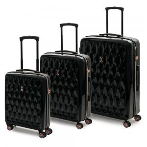 ROCK LONDON Sada cestovních kufrů Diamond S + M + L, černá