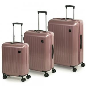 ROCK LONDON Sada cestovních kufrů Windsor S + M + L, růžová