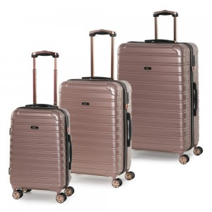 ROCK LONDON Sada cestovních kufrů Chicago S + M + L, růžová