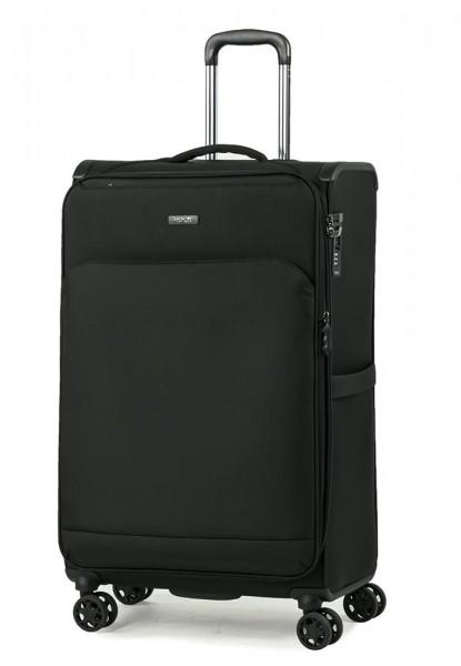 ROCK LONDON Látkový cestovní kufr Georgia L 90/103 l – černá