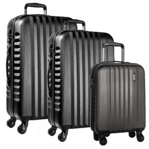 March Sada cestovních kufrů Ribbon SE S + M + L, černá