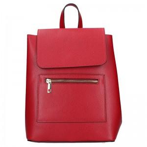 Dámská kožený batoh Vera Pelle Tinna – červená