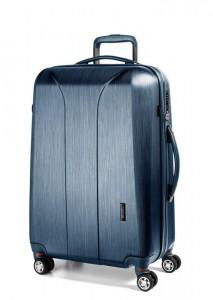 March Skořepinový cestovní kufr New Carat SE L 105 l – modrá