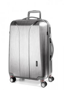March Skořepinový cestovní kufr New Carat SE L 105 l – stříbrná