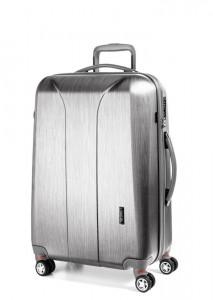 March Skořepinový cestovní kufr New Carat SE M 72 l – stříbrná