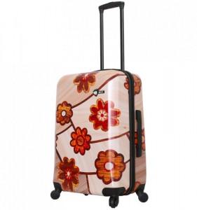 Mia Toro M1355/3-M Ricci Wood Mozaic Flowers cestovní kufr TSA 64 cm 62-78 l