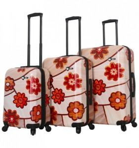 Mia Toro M1355/3 Ricci Wood Mozaic Flowers sada cestovních kufrů TSA 55/64/74 cm